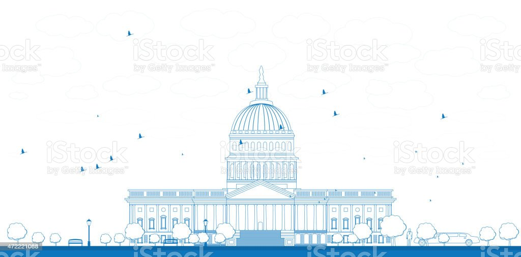 Outline Washington DC Capitol landscape, USA vector art illustration