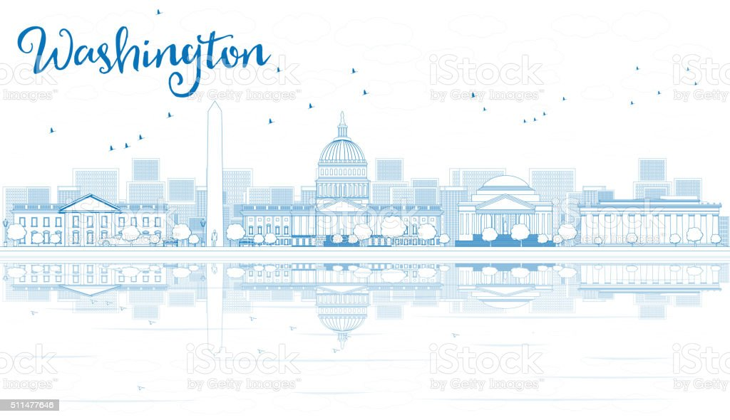 Outline Washington DC Skyline with Blue Buildings and Reflection vector art illustration