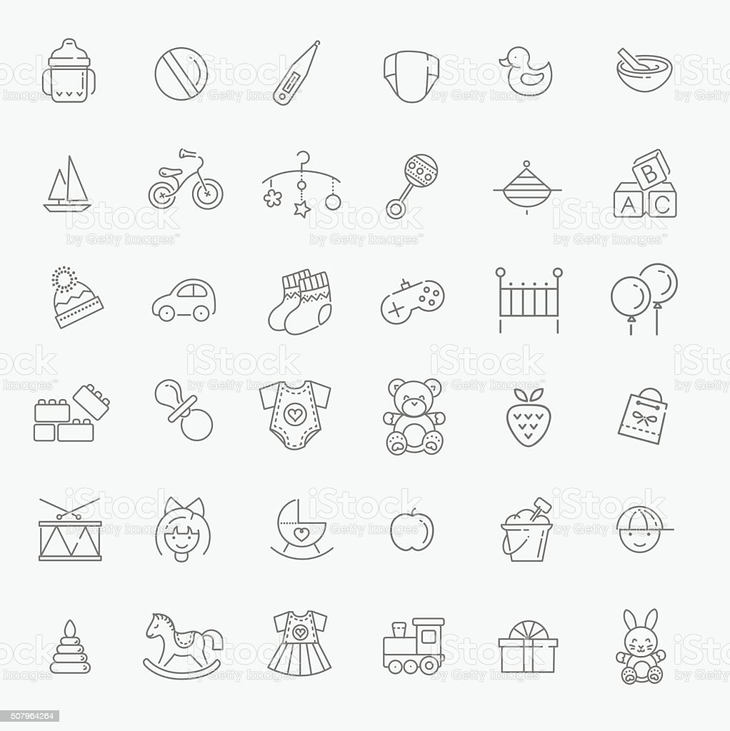 Outline web icon set. Baby toys, feeding and care vector art illustration