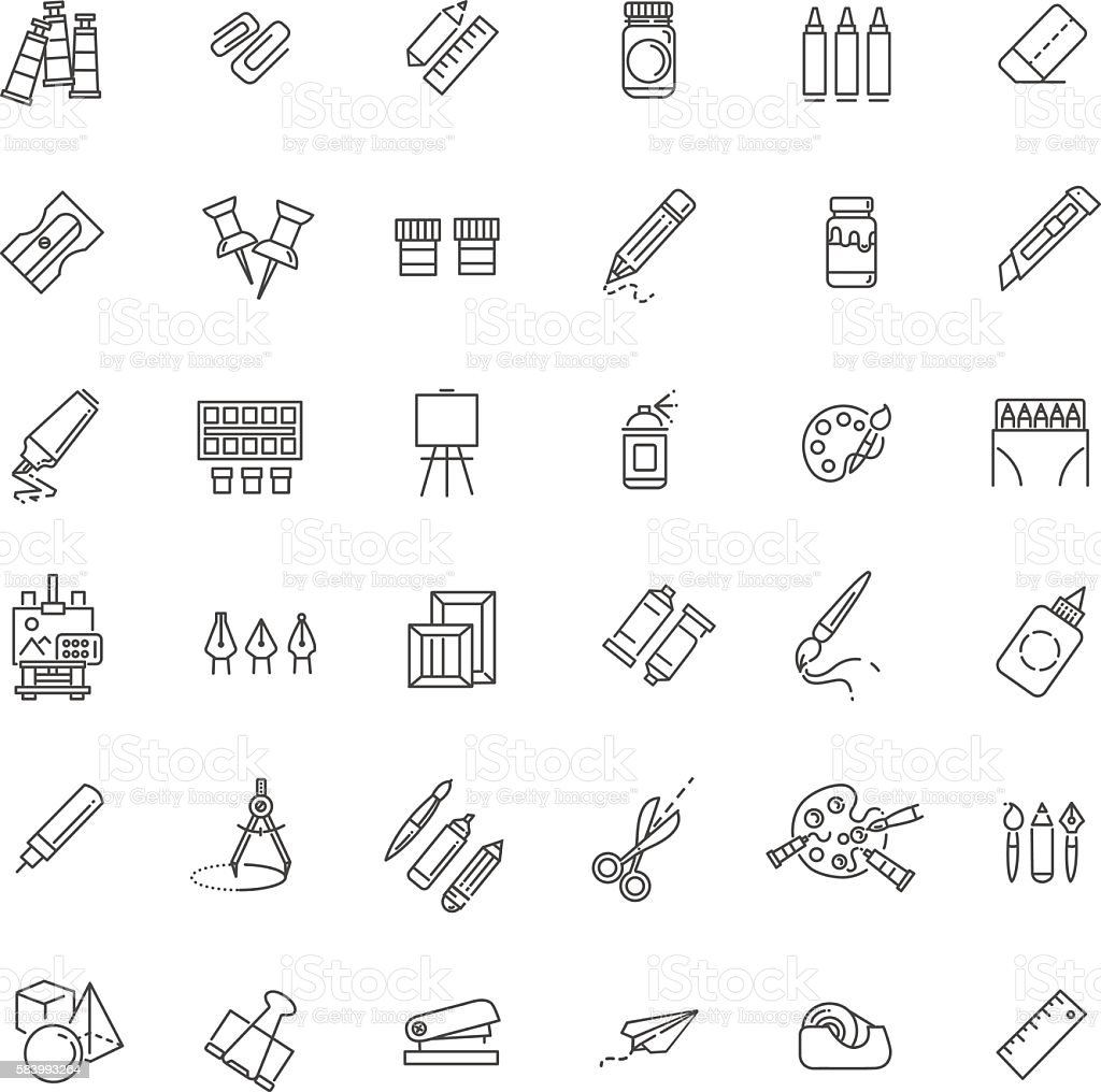 Outline web icon set - drawing tools vector art illustration