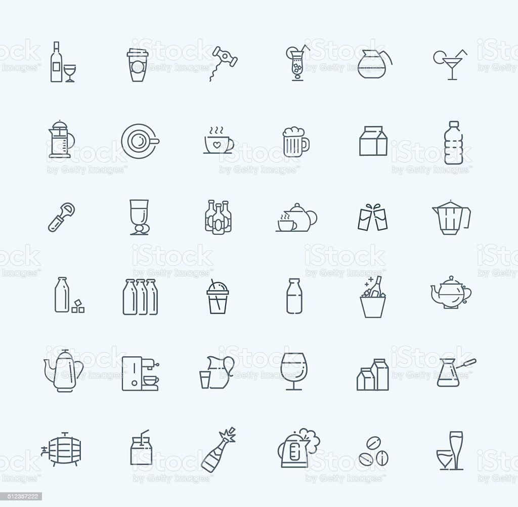 Outline web icon set - drink (coffee, tea, alcohol) vector art illustration