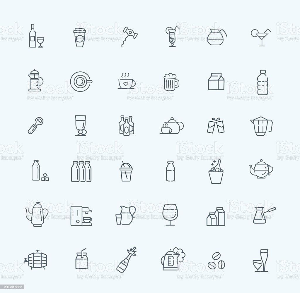 Outline web icon set - drink (coffee, tea, alcohol) vector art illustration