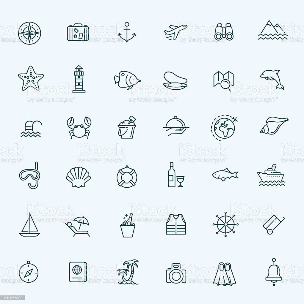 Outline web icon set - journey, vacation, cruise vector art illustration