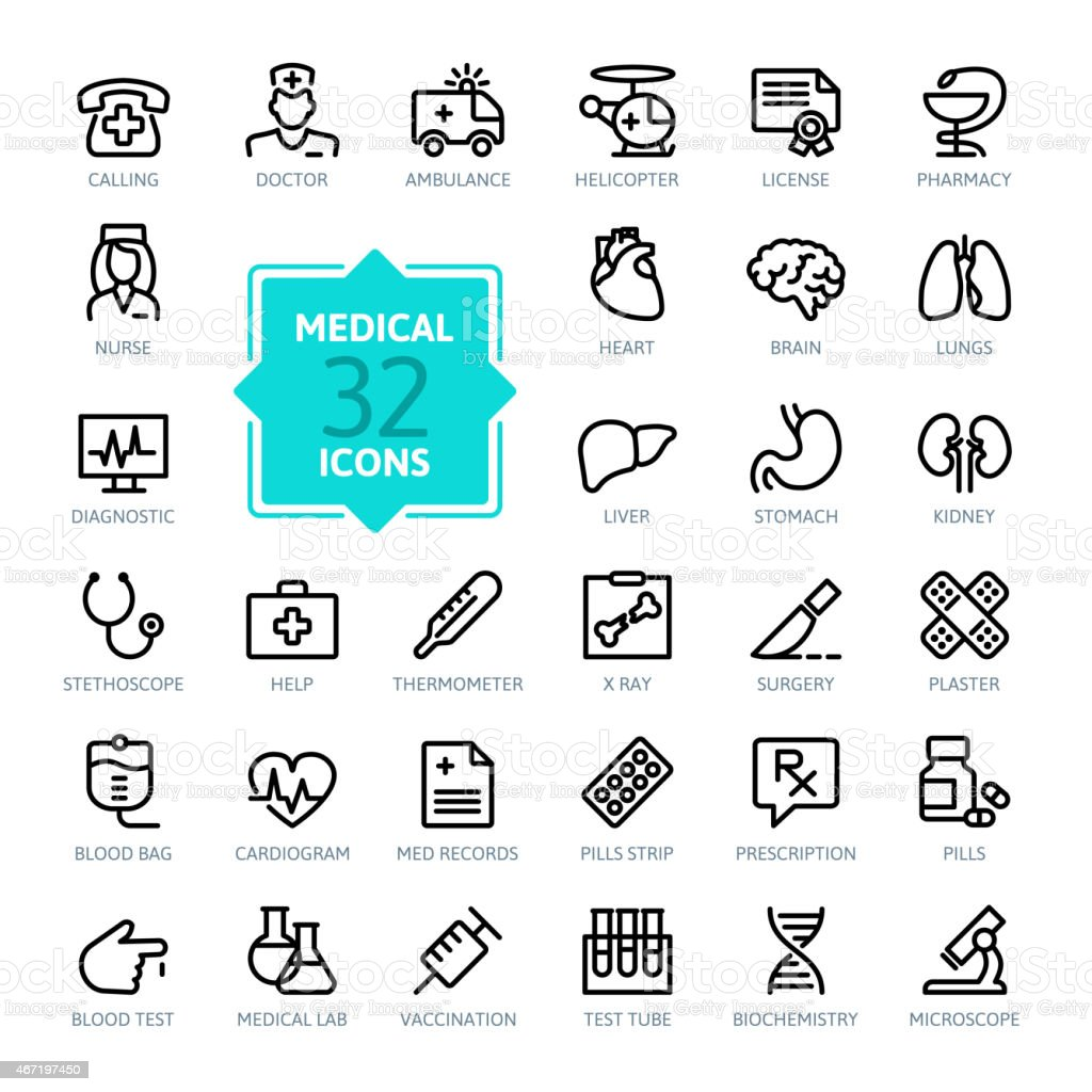 Outline web icon set - Medicine and Health symbols vector art illustration
