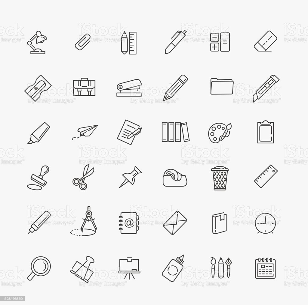 Outline web icon set - office stationery vector art illustration