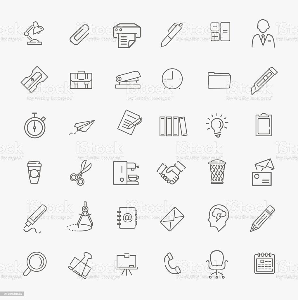 Outline web icon set - Office vector art illustration