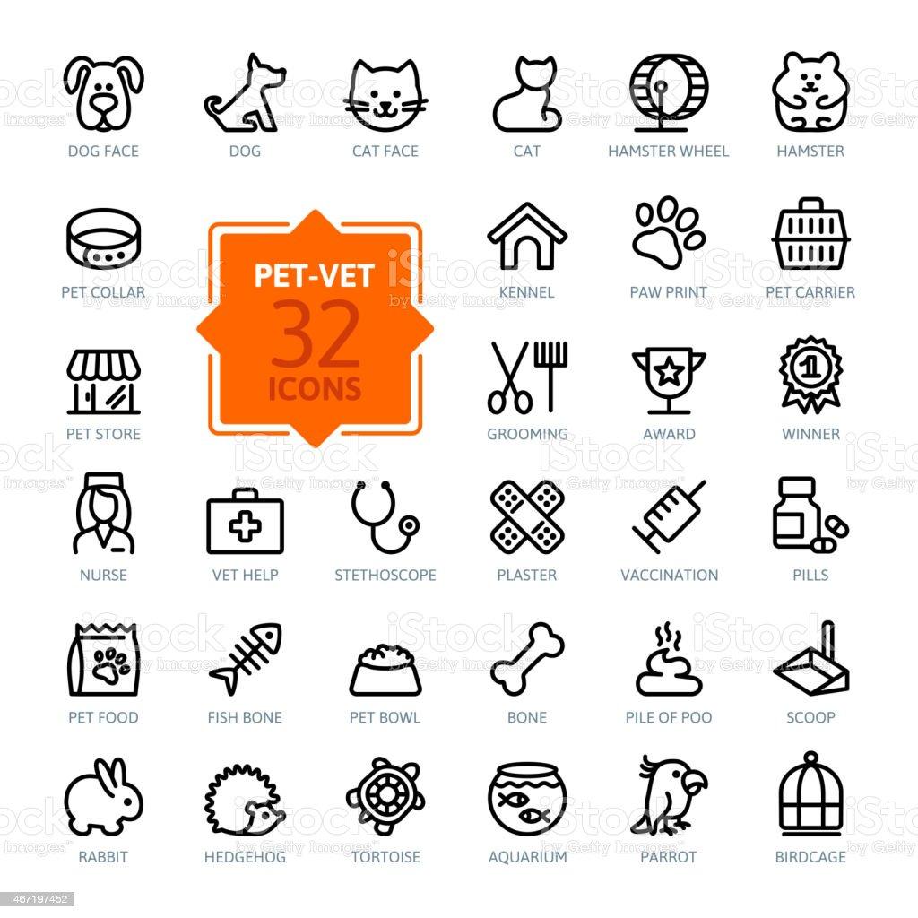 Outline web icon set - pet, vet, pet shop vector art illustration