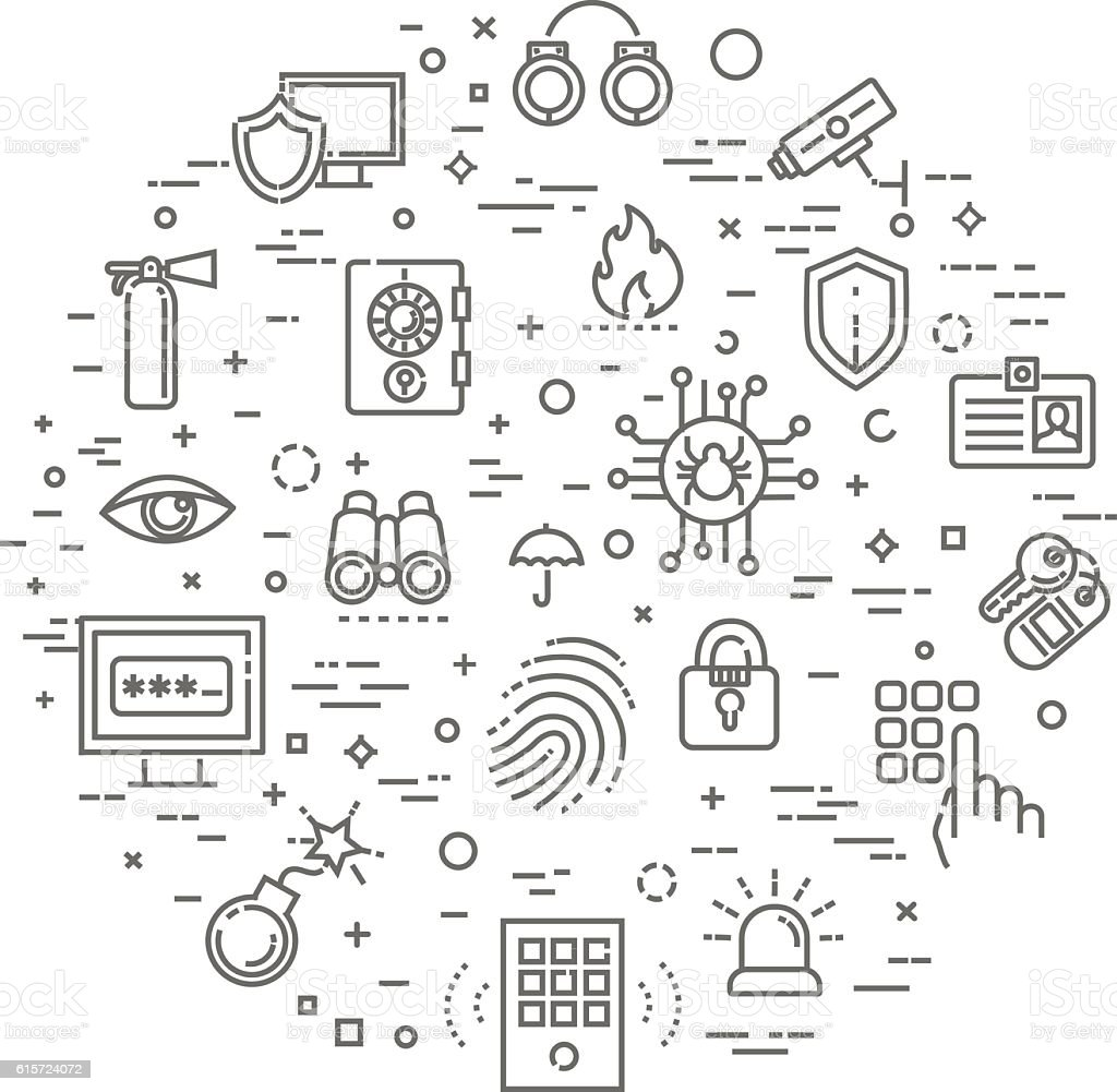 Outline web icon set - security and technology vector art illustration