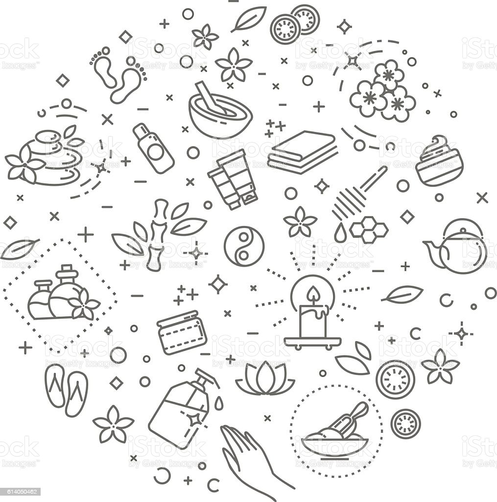Outline web icon set - Spa and Beauty vector art illustration
