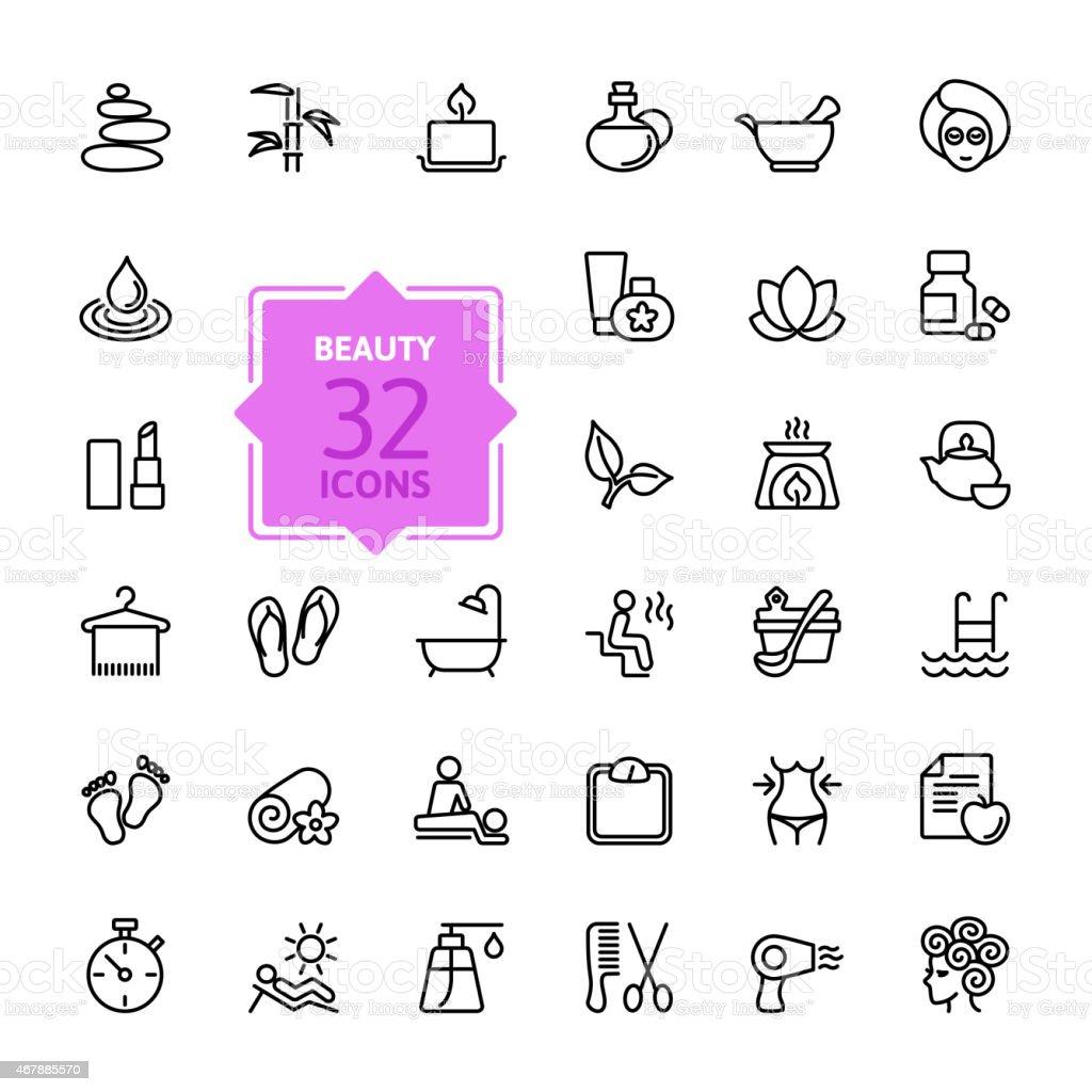 Outline web icon set - Spa & Beauty vector art illustration