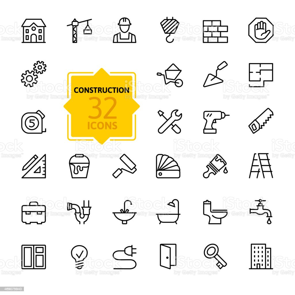Outline web icons set - construction, home repair tools vector art illustration