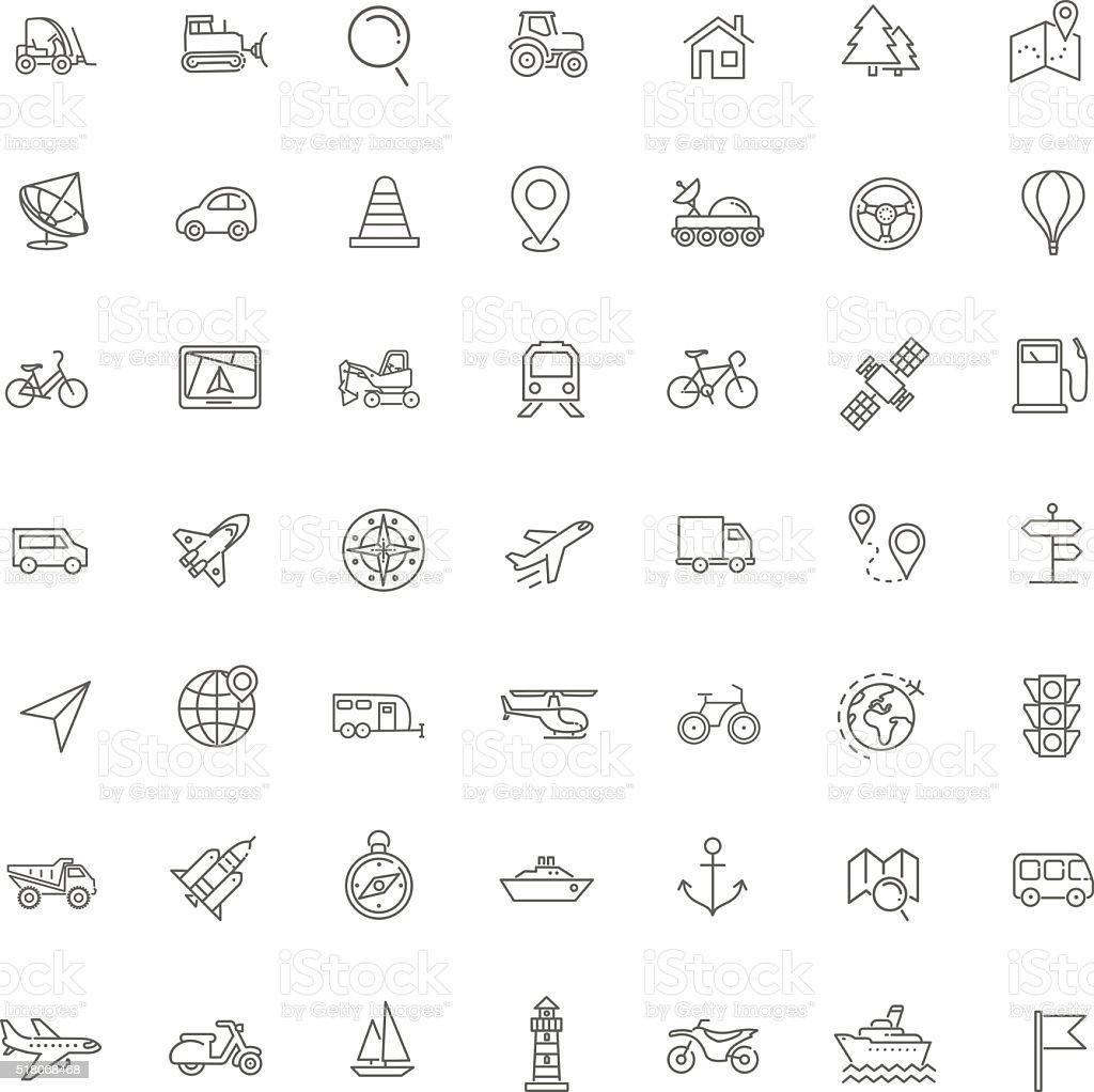 Outline web icons set - navigation, location, transportation vector art illustration