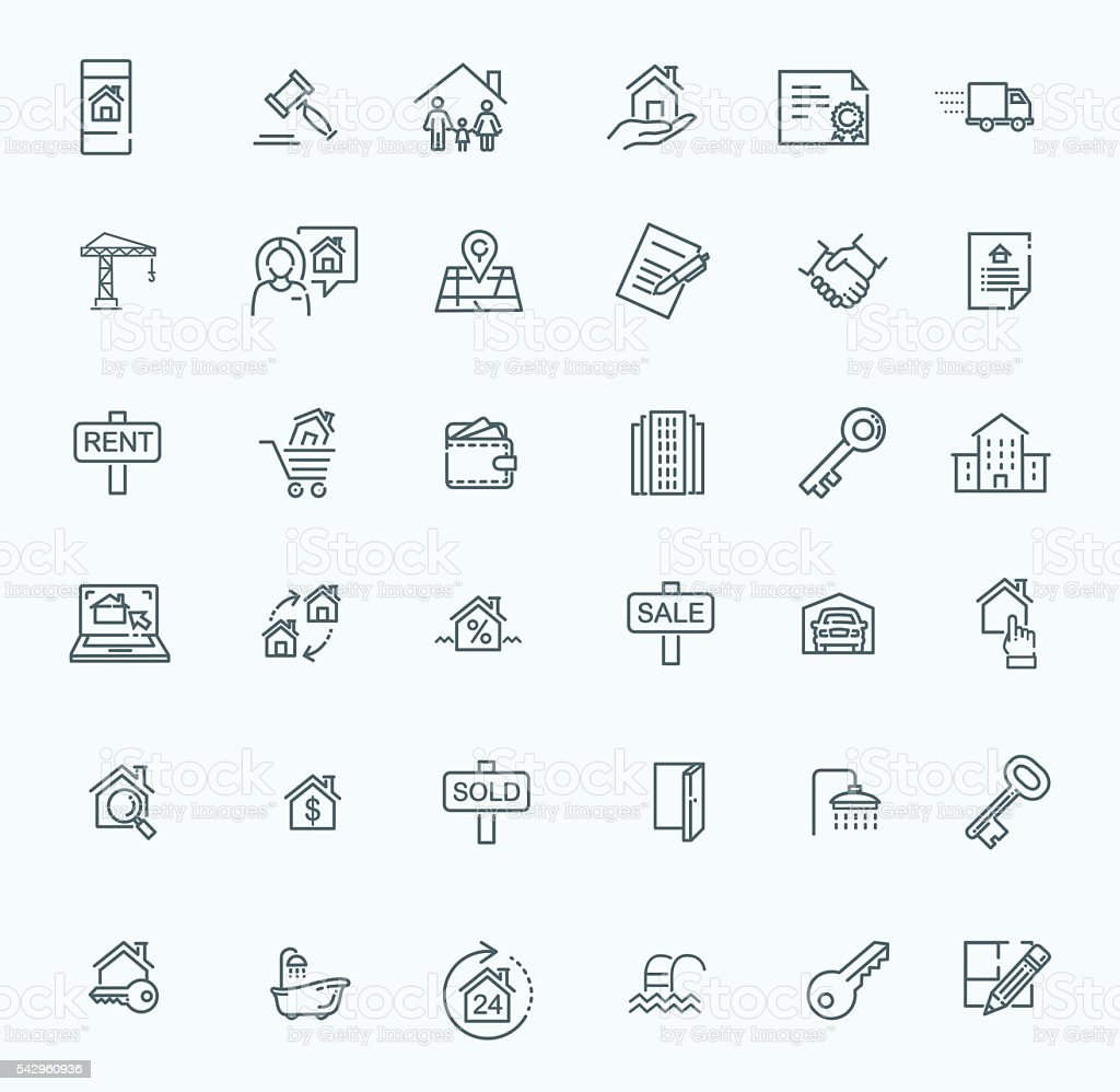 Outline web icons set - Real Estate vector art illustration