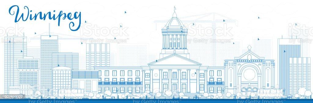 Outline Winnipeg Skyline with Blue Buildings. vector art illustration