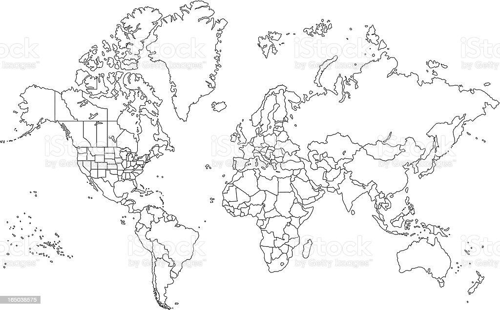 Outline World Map vector art illustration