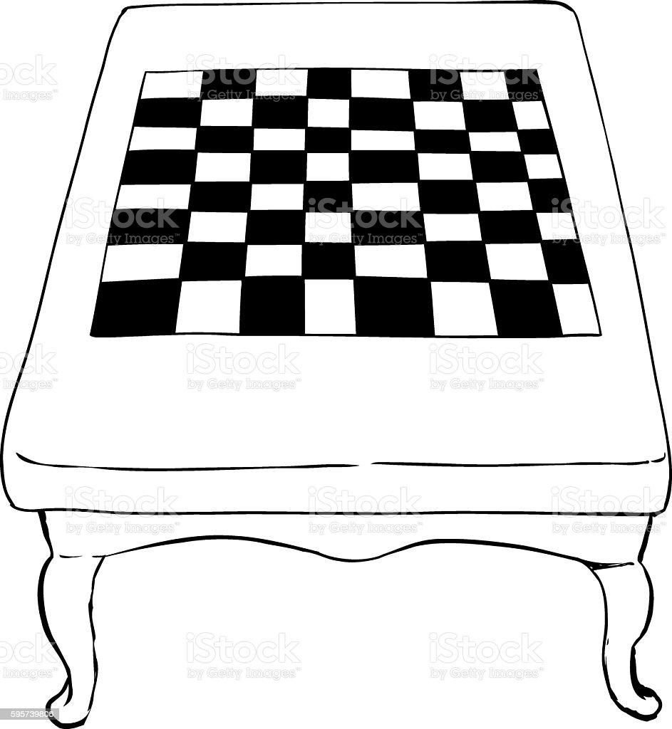 Outlined chess table with short legs vector art illustration