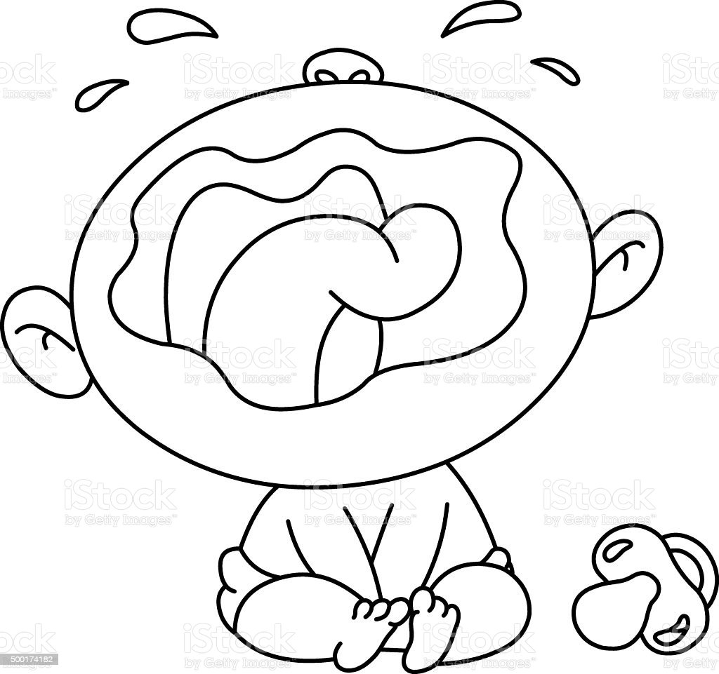 Outlined crying baby vector art illustration