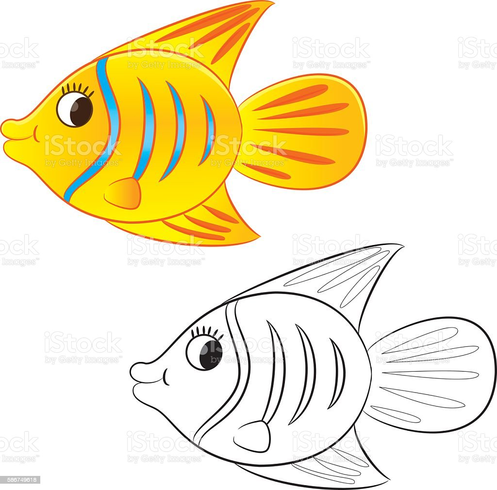 Cartoon goldfish illustration royalty free stock photo image - Outlined Cute Cartoon Goldfish Royalty Free Stock Vector Art