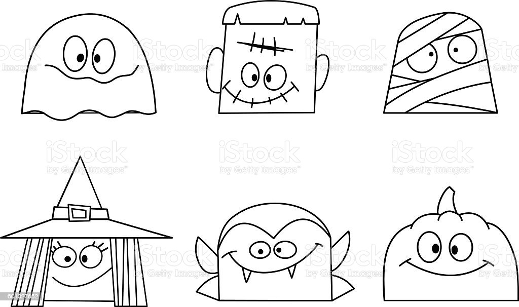 Outlined halloween faces vector art illustration