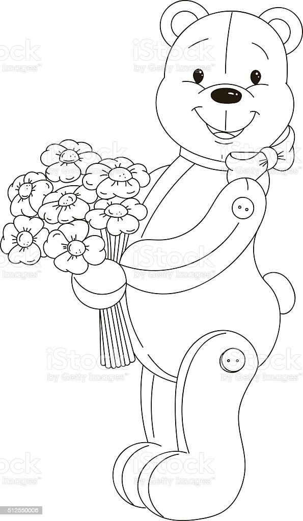 Outlined Happy Teddy Bear Coloring Page stock vector art ...