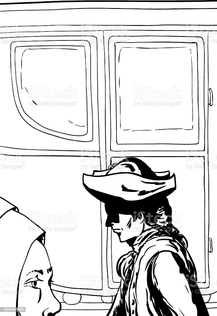 Outlined man and woman walking past empty carriage vector art illustration