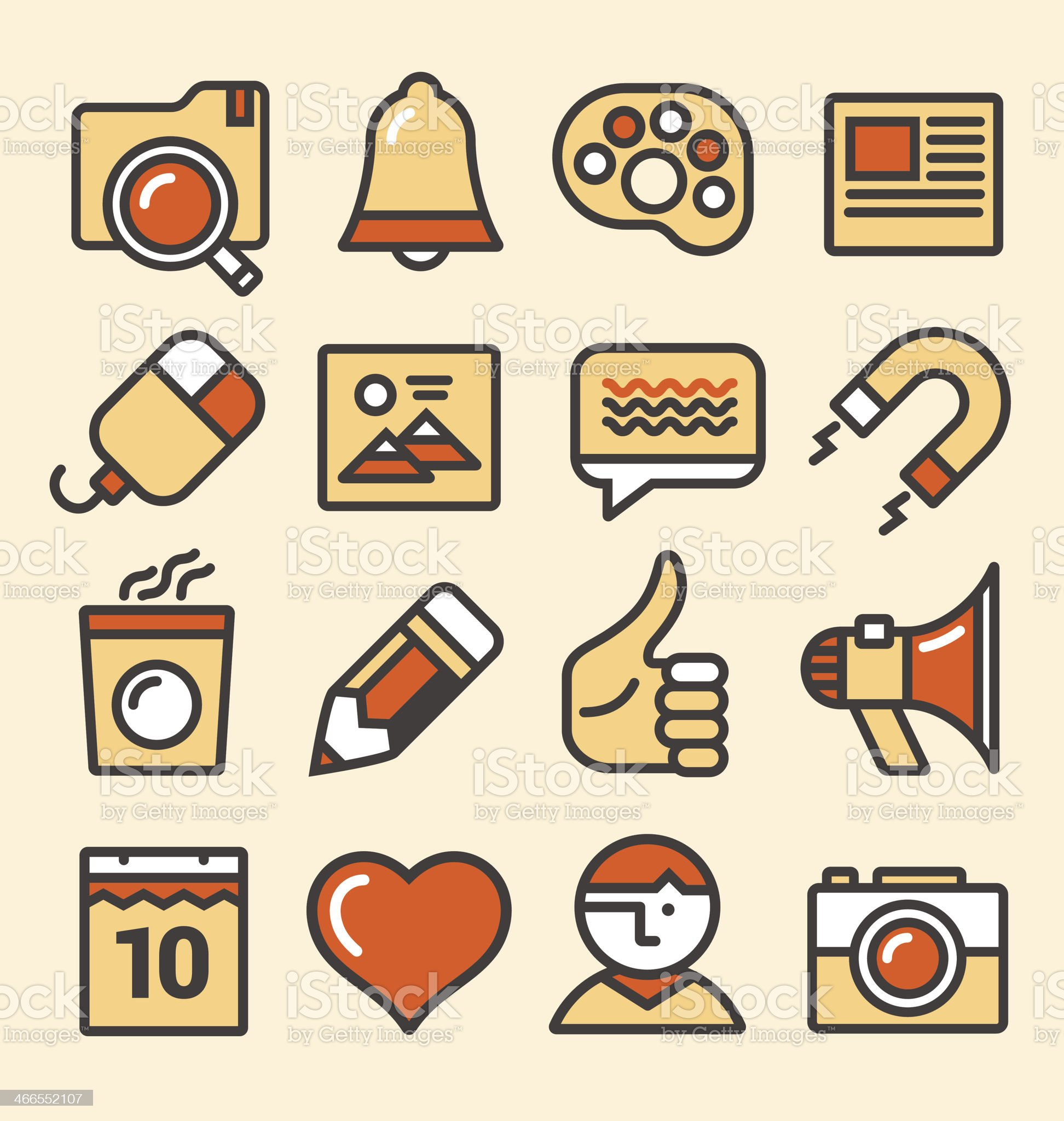 Outlined media icons set royalty-free stock vector art