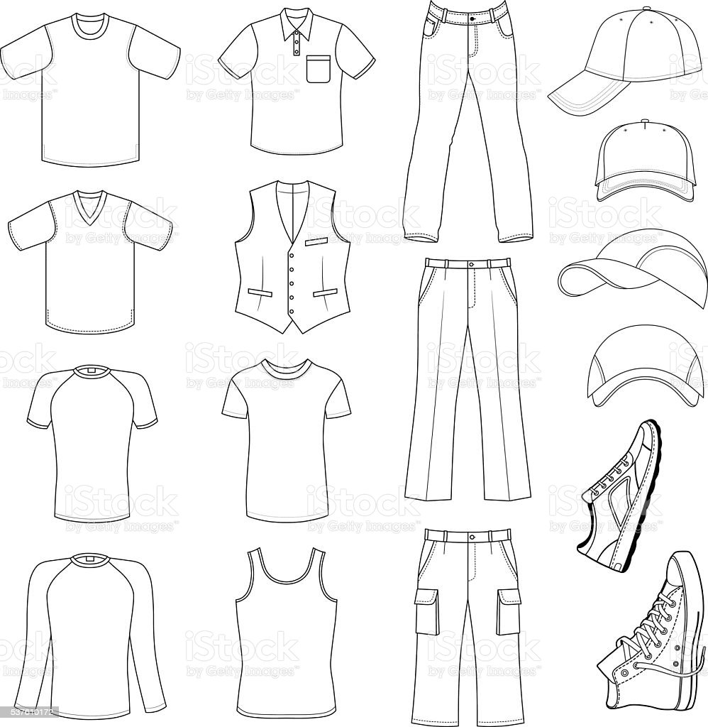 Outlined menswear, headgear & shoes season collection vector art illustration