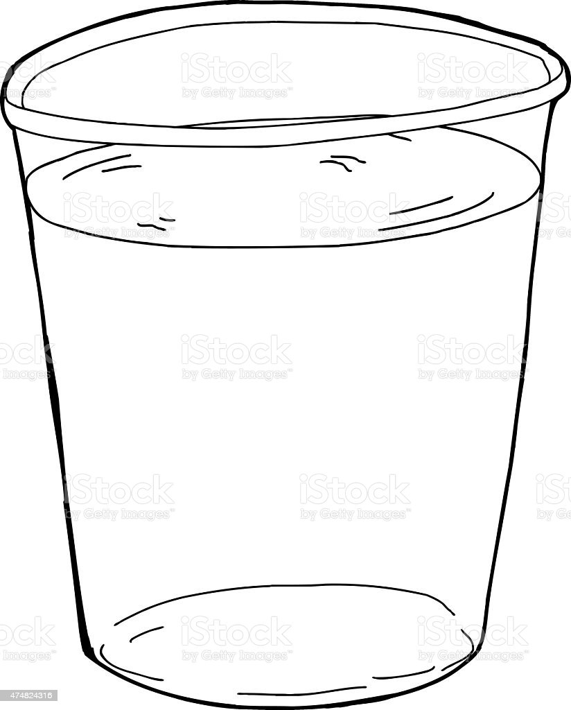 Outlined Plastic Cup Of Water stock vector art 474824316 | iStock