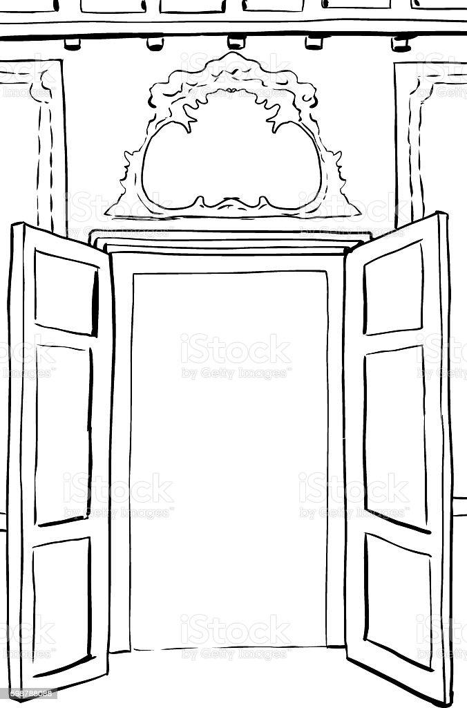 Outlined Rococo Doors Illustration vector art illustration