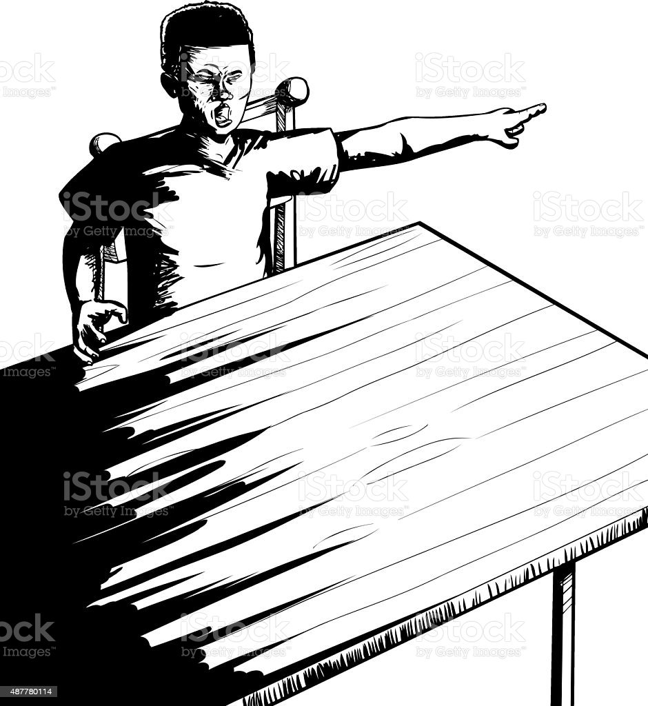 Outlne of Yelling Teen at Table vector art illustration