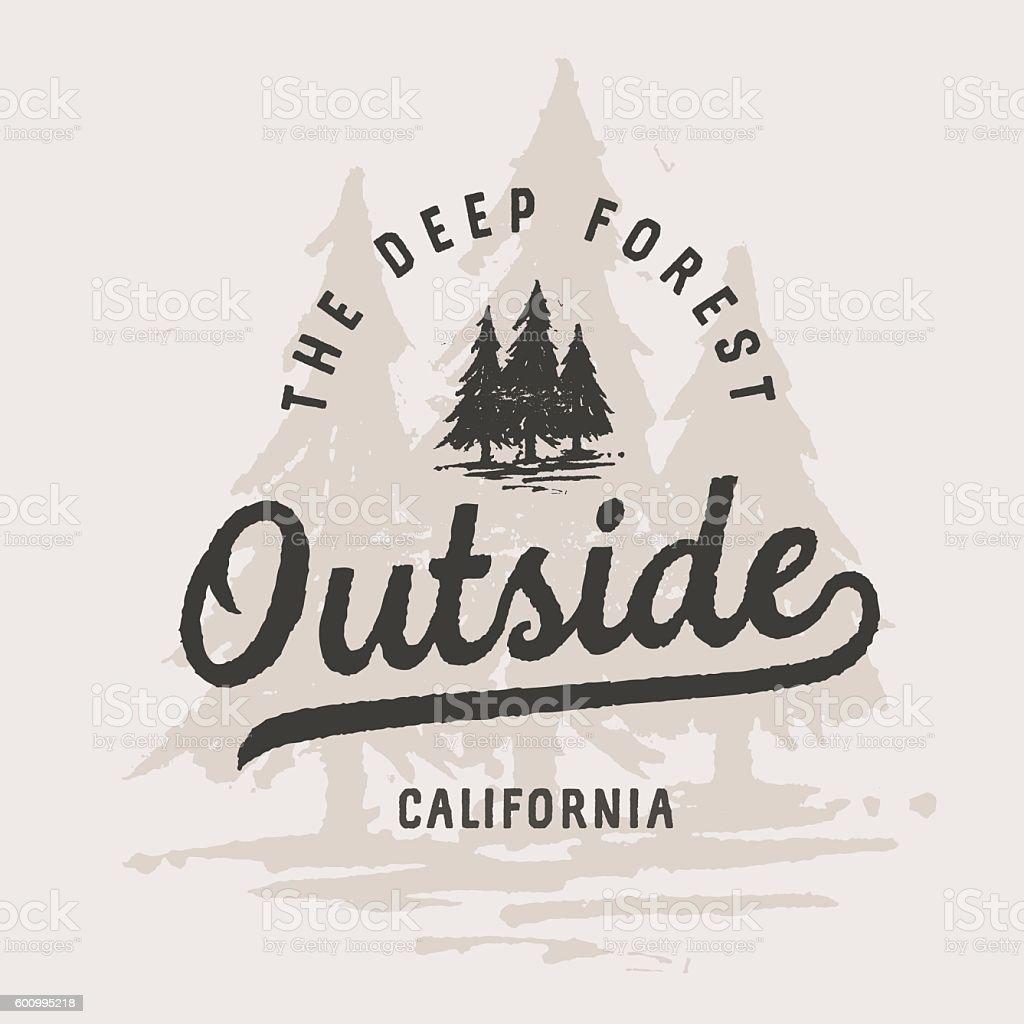 Shirt design vintage - Outside Vintage Lettering With Pines Illustration T Shirt Design Template Royalty Free Stock