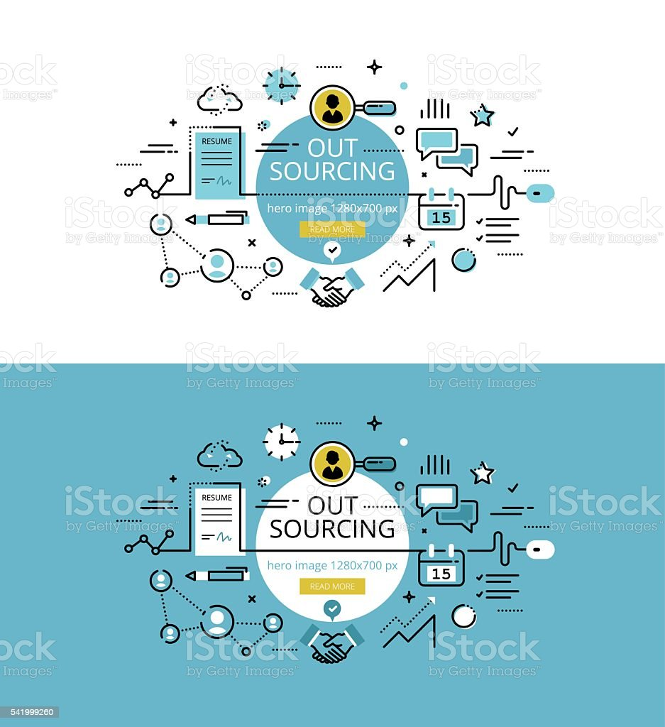 Outsourcing. Flat line color hero images and hero banners design concept vector art illustration