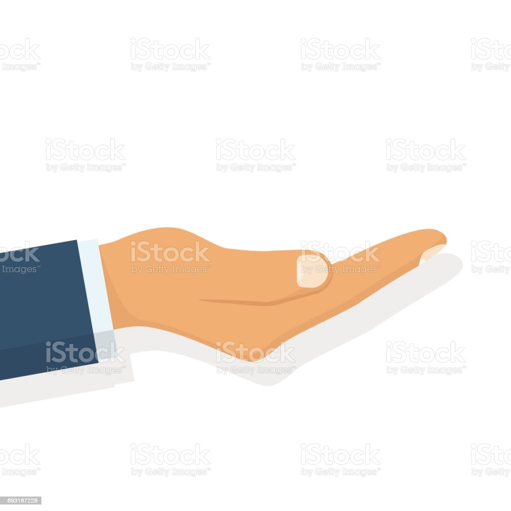 Outstretched hand. Vector vector art illustration