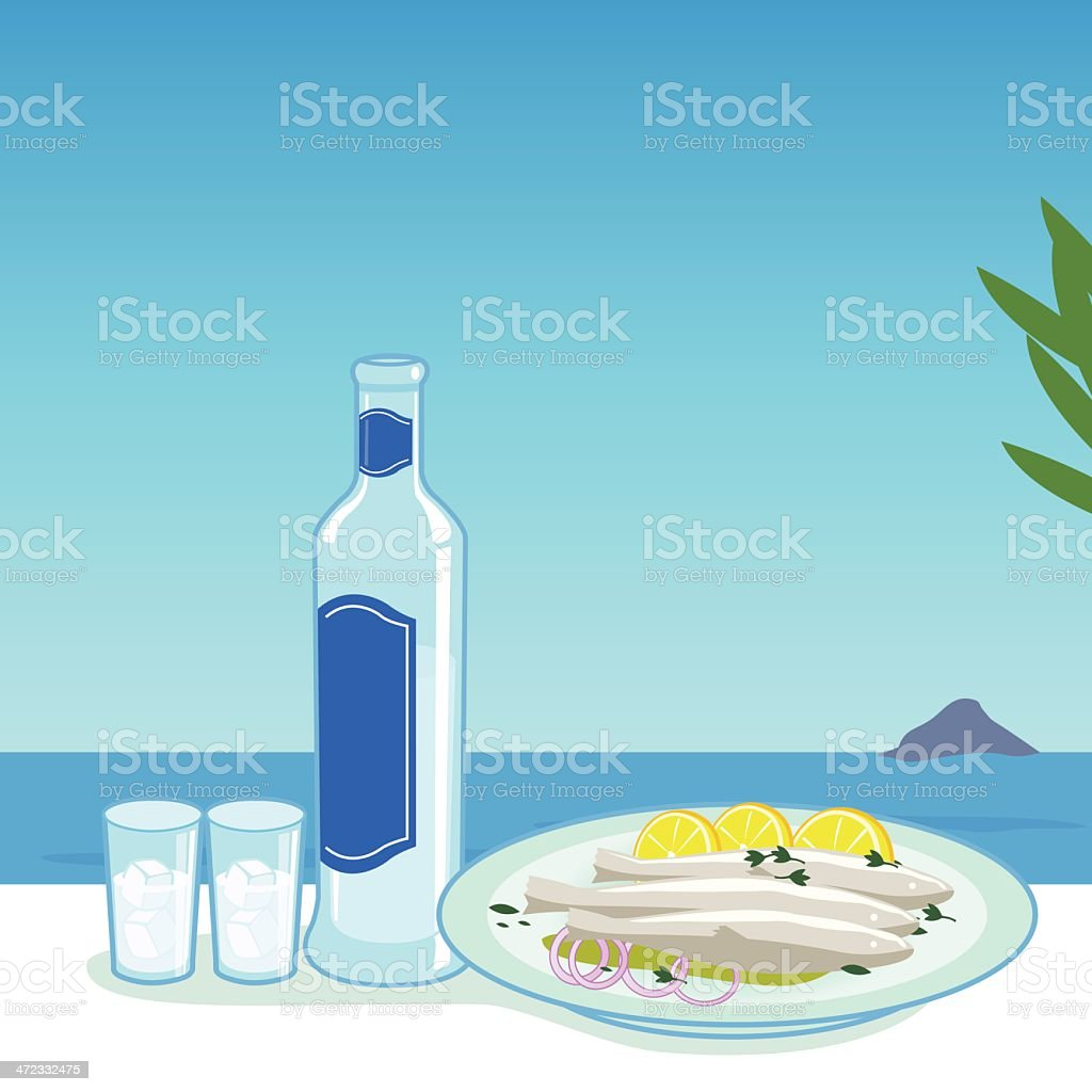 Ouzo and fish royalty-free stock vector art
