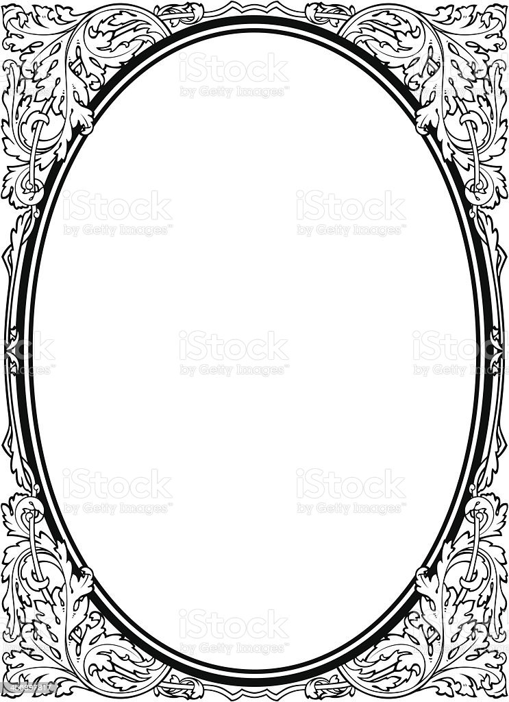 Oval baroque black picture frame vector art illustration