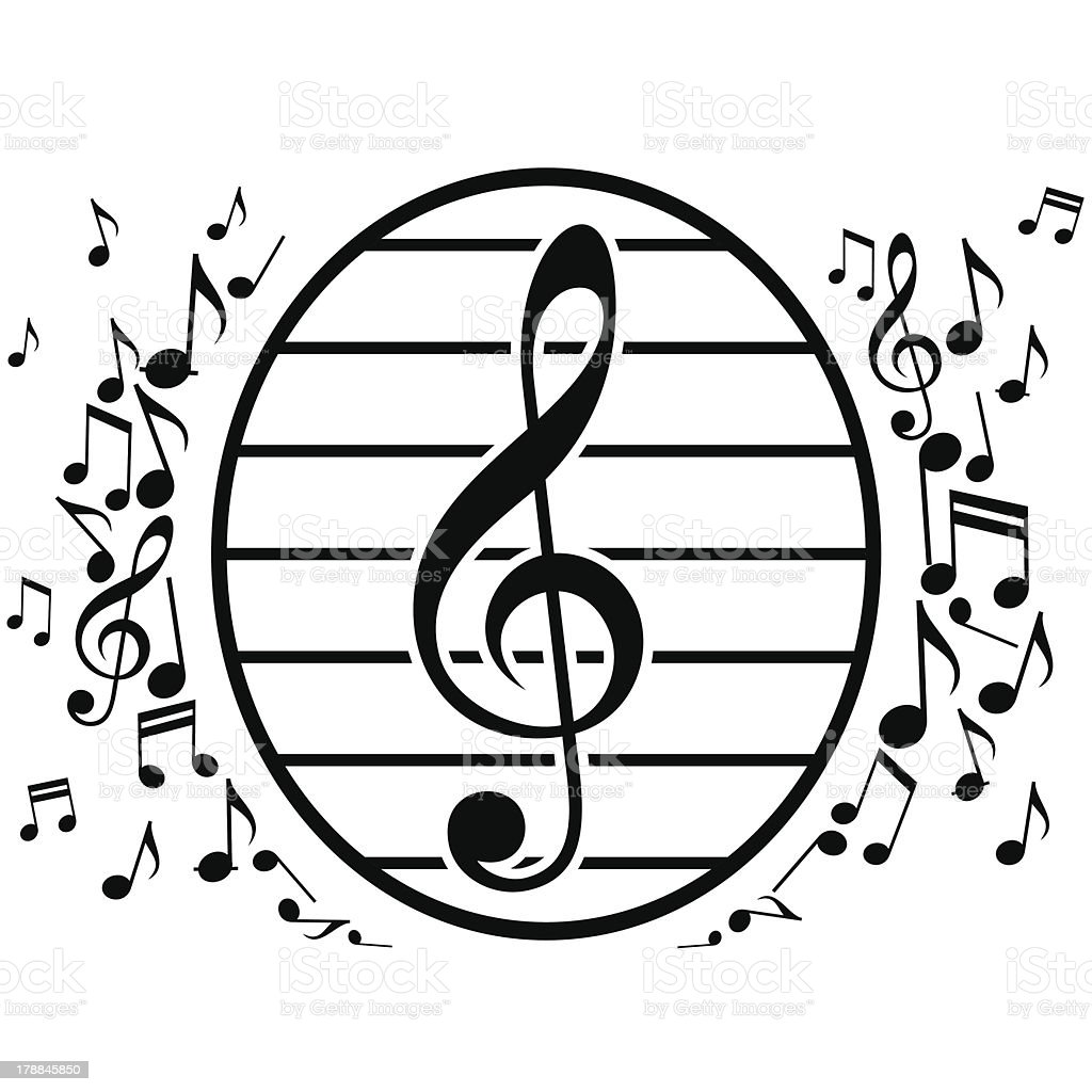 Oval Composition With Musical Notes royalty-free stock vector art