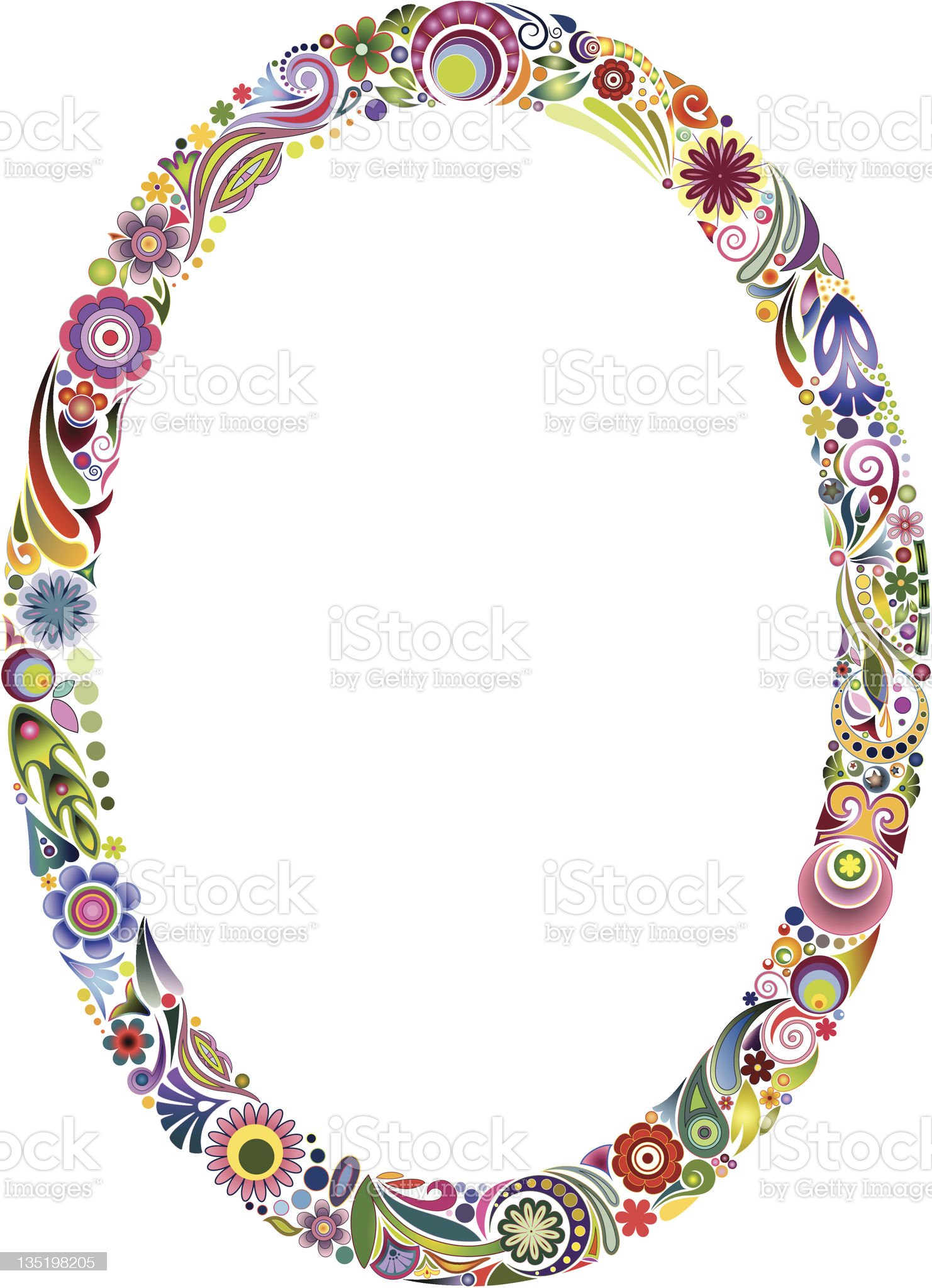 Oval floral frame royalty-free stock vector art