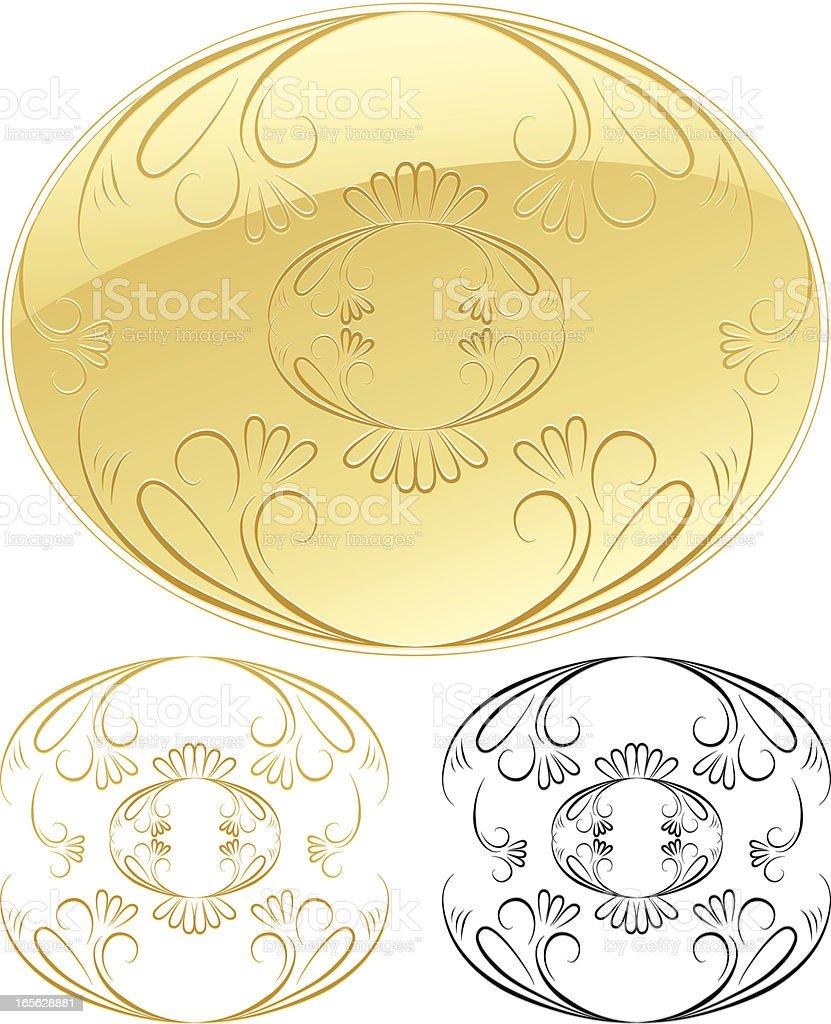 Ovale Blumenmuster Schnörkel Design-Element mit Glänzendes Gold Lizenzfreies vektor illustration