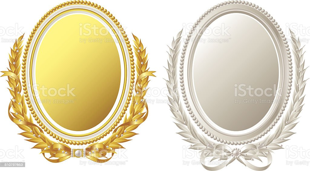 Oval frame. Gold. Silver vector art illustration