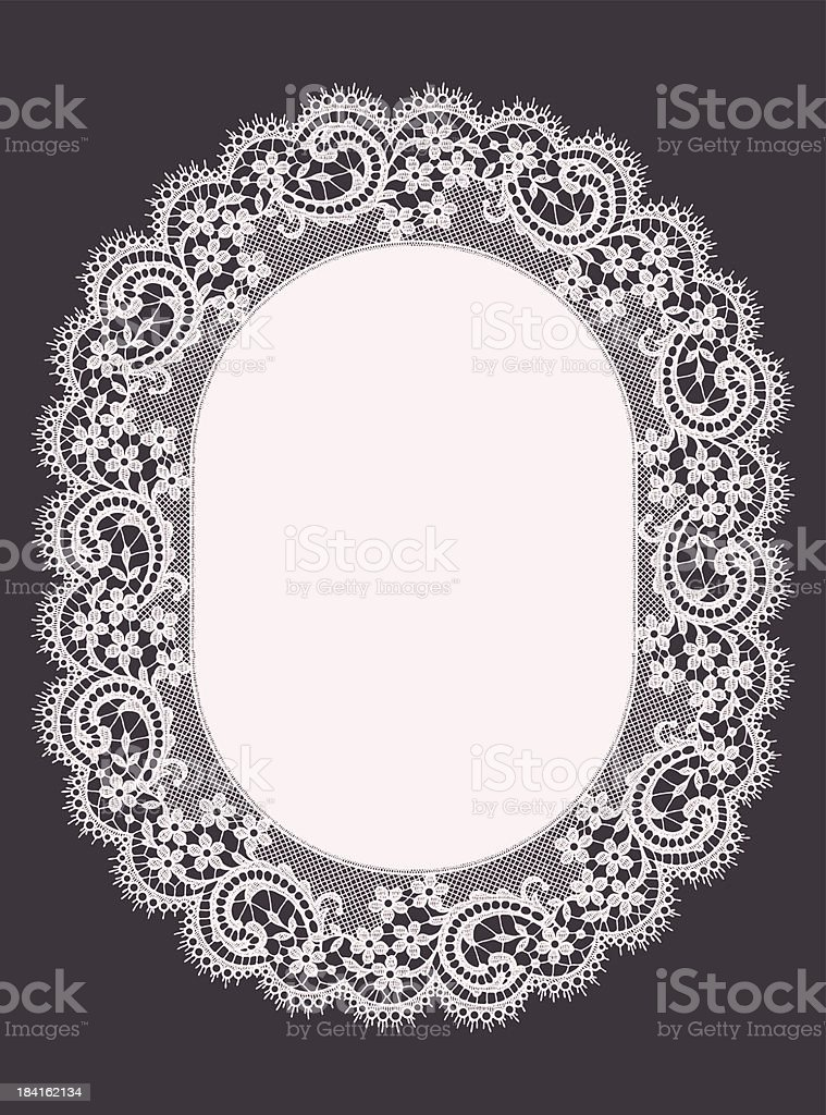 Oval Frame. White Pink Lace Frame. Dark Gray Backgrounds. royalty-free stock vector art