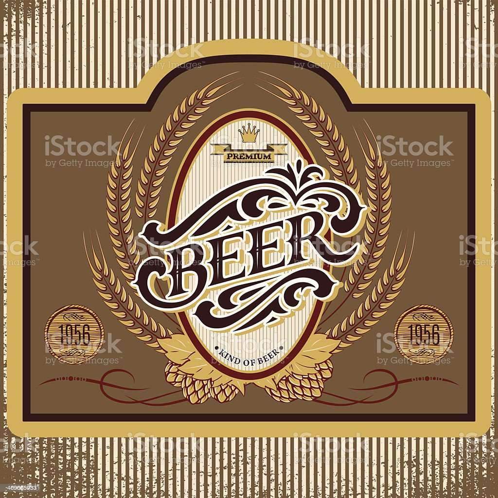 oval label with ornament inscription for beer royalty-free stock vector art