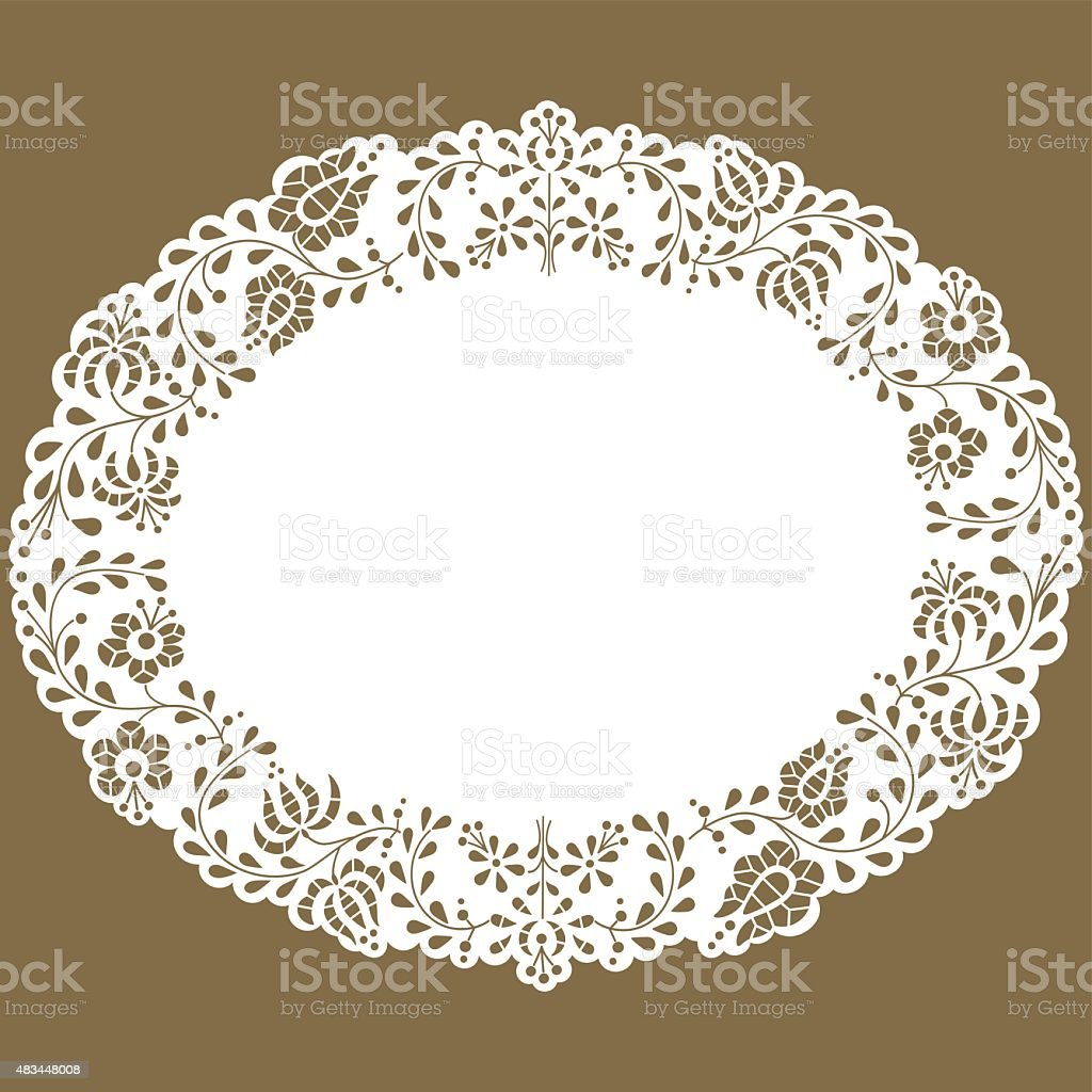 Oval paper lace edged doily vector art illustration