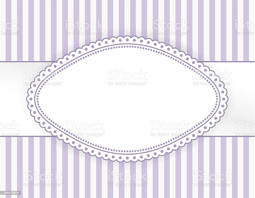 Oval purple label with dotted frame royalty-free stock vector art