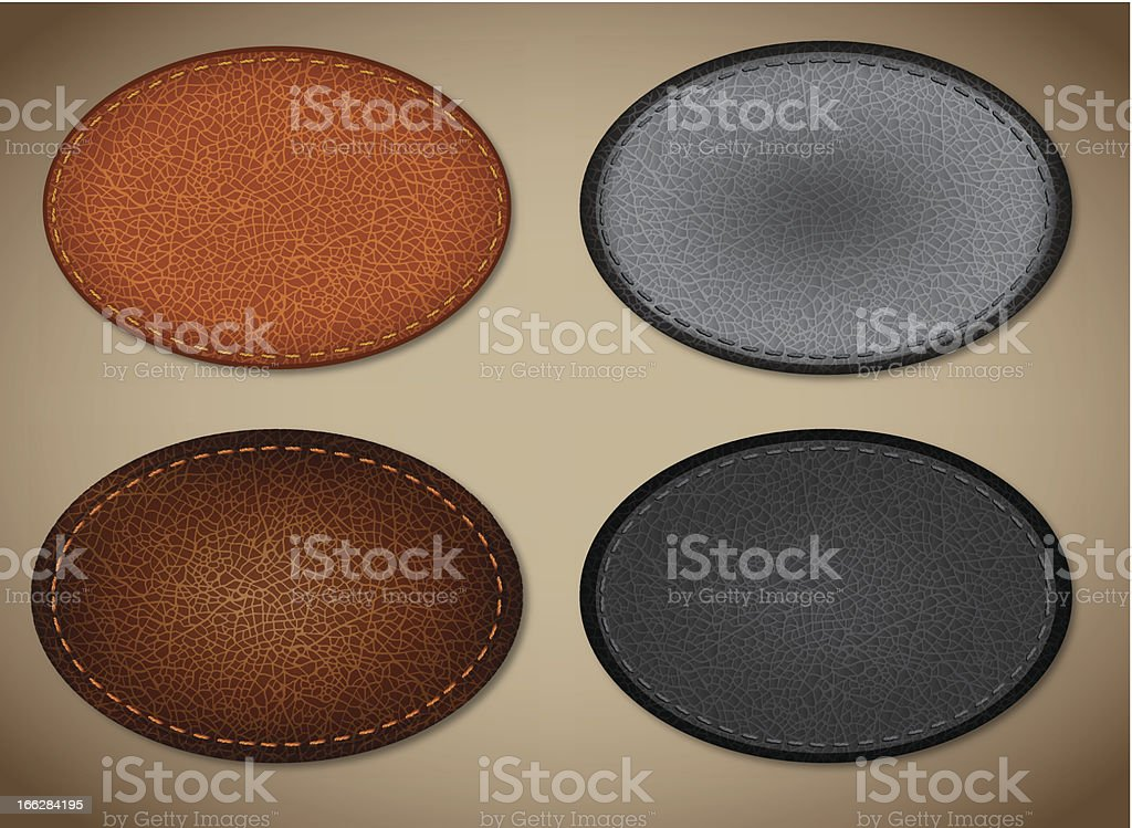 Oval tags with realistic leather texture vector art illustration