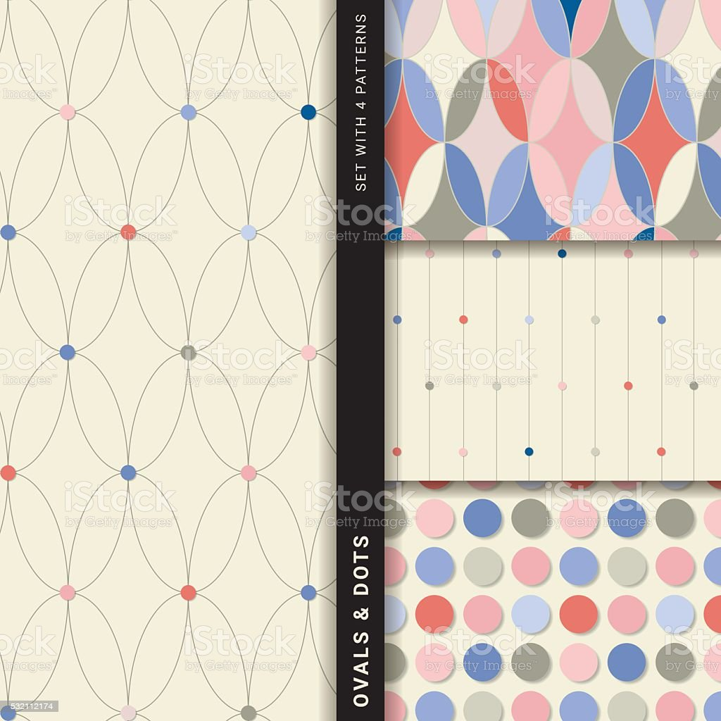 Ovals and dots (Set with 4 seamless patterns) vector art illustration
