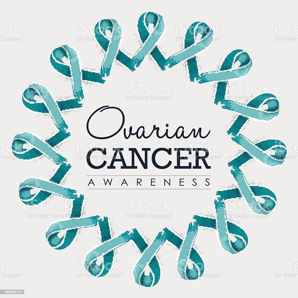 Ovarian cancer awareness ribbon design with text vector art illustration