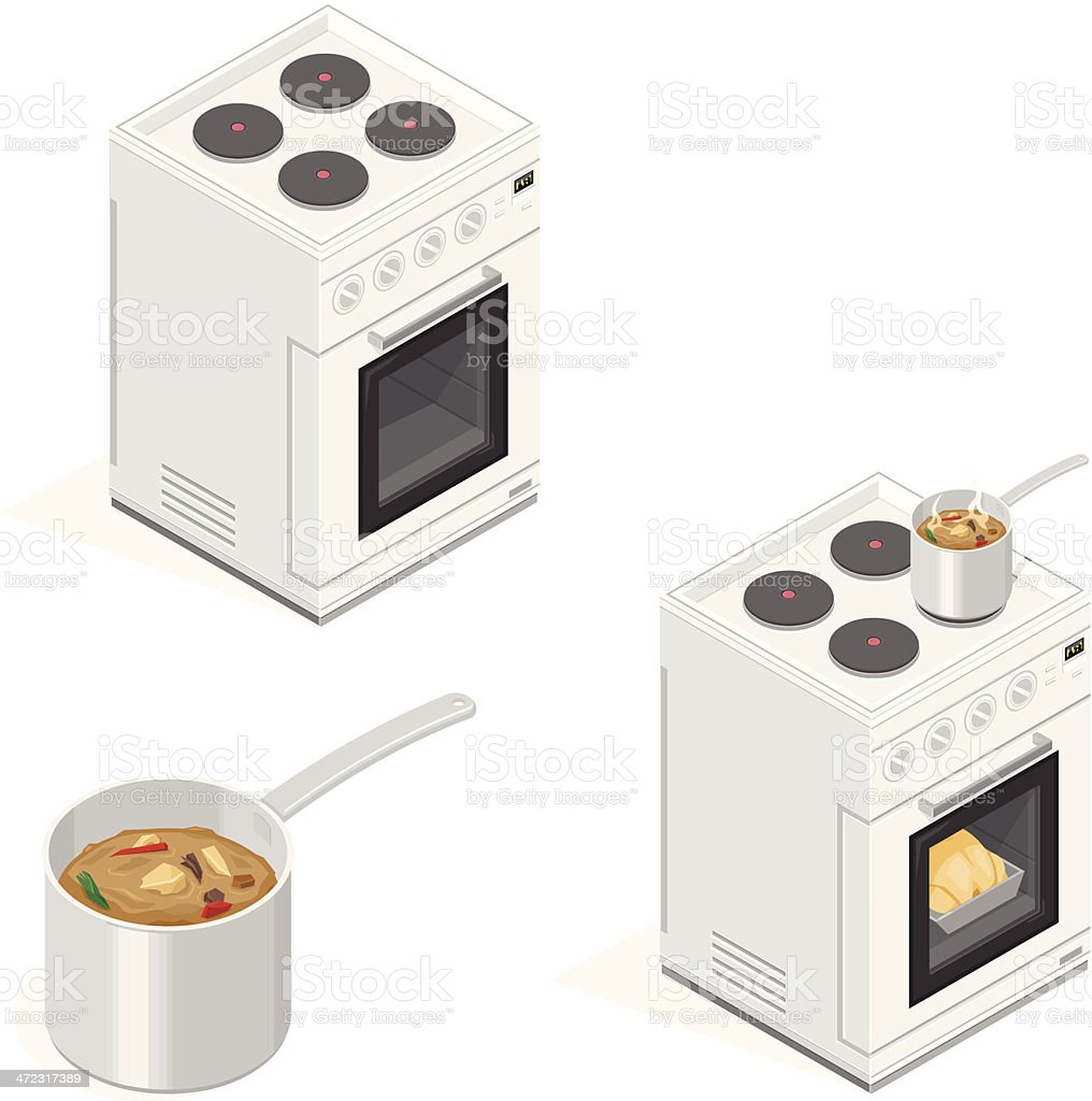Oven Cooking Food vector art illustration