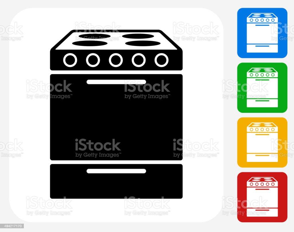 Oven Icon Flat Graphic Design vector art illustration