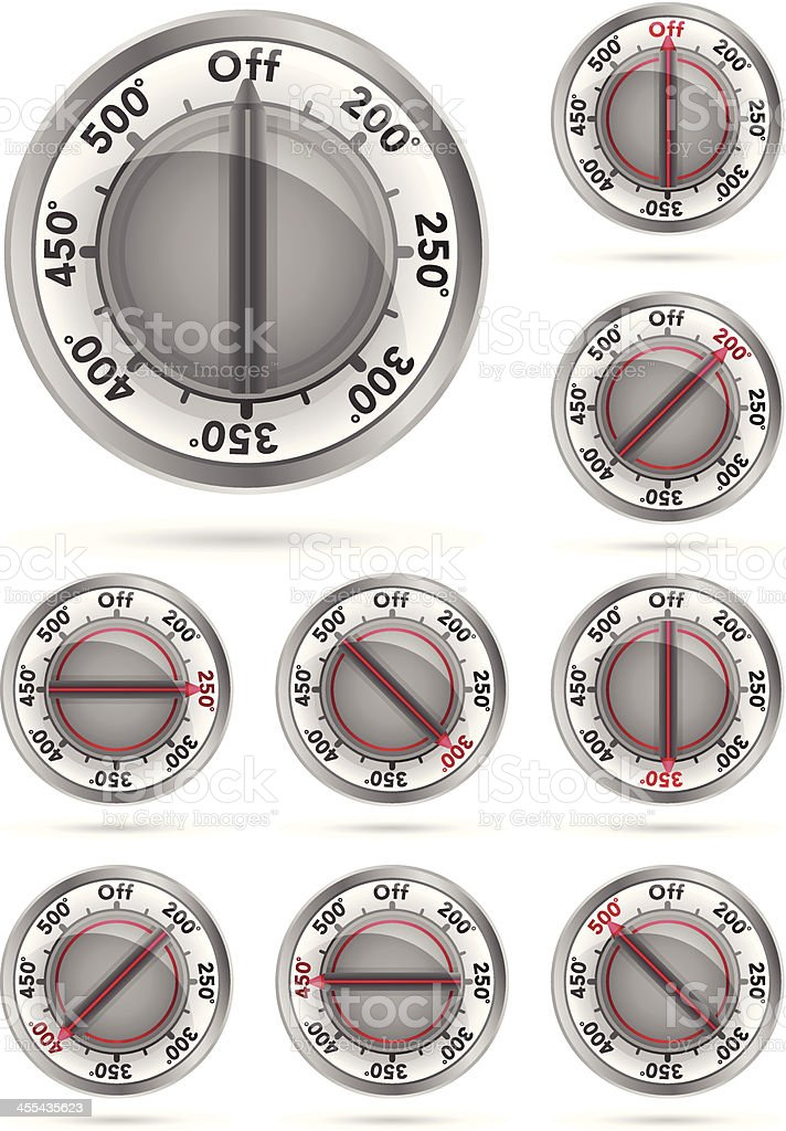 Oven Temperature Knobs vector art illustration