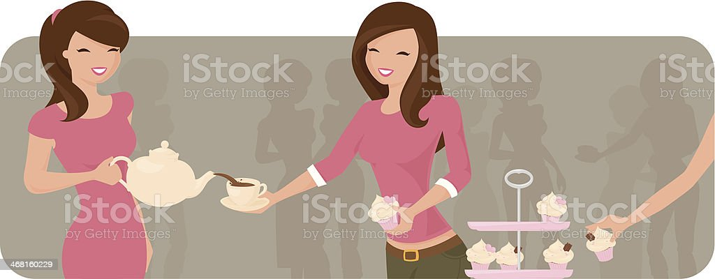 Over Tea vector art illustration